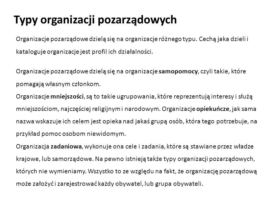 Typy organizacji pozarządowych Organizacje pozarządowe dzielą się na organizacje różnego typu. Cechą jaka dzieli i kataloguje organizacje jest profil