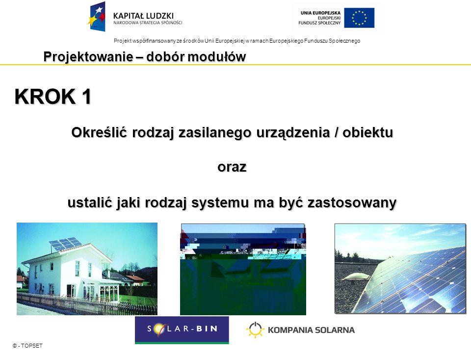 Projekt współfinansowany ze środków Unii Europejskiej w ramach Europejskiego Funduszu Społecznego Projektowanie – dobór modułów © - TOPSET KROK 1 Określić rodzaj zasilanego urządzenia / obiektu oraz ustalić jaki rodzaj systemu ma być zastosowany