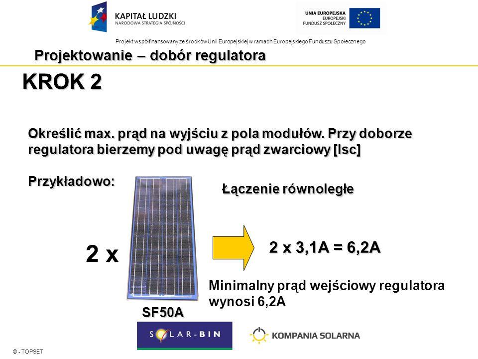 Projekt współfinansowany ze środków Unii Europejskiej w ramach Europejskiego Funduszu Społecznego Projektowanie – dobór regulatora © - TOPSET KROK 2 Określić max.