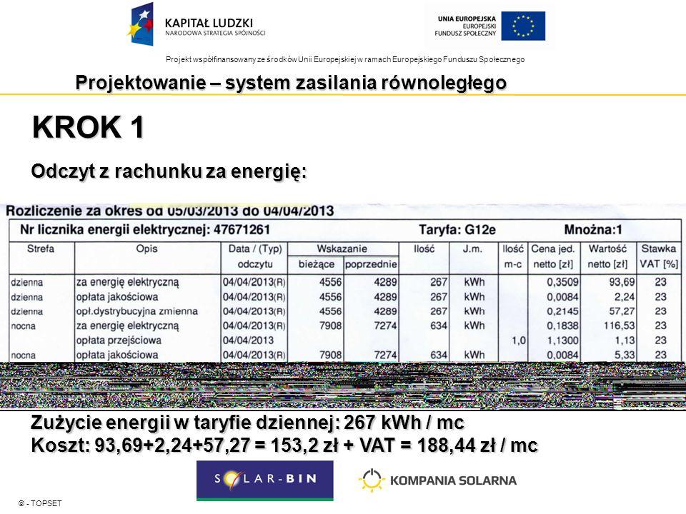 Projekt współfinansowany ze środków Unii Europejskiej w ramach Europejskiego Funduszu Społecznego © - TOPSET KROK 1 Odczyt z rachunku za energię: Zużycie energii w taryfie dziennej: 267 kWh / mc Koszt: 93,69+2,24+57,27 = 153,2 zł + VAT = 188,44 zł / mc Projektowanie – system zasilania równoległego
