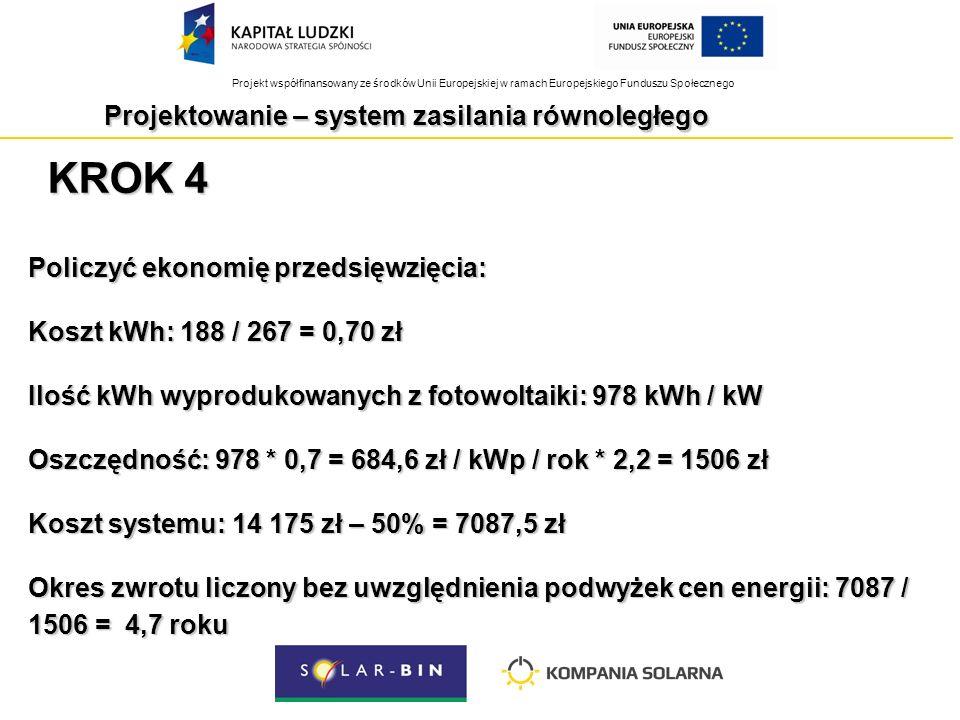 Projekt współfinansowany ze środków Unii Europejskiej w ramach Europejskiego Funduszu Społecznego KROK 4 Policzyć ekonomię przedsięwzięcia: Koszt kWh: 188 / 267 = 0,70 zł Ilość kWh wyprodukowanych z fotowoltaiki: 978 kWh / kW Oszczędność: 978 * 0,7 = 684,6 zł / kWp / rok * 2,2 = 1506 zł Koszt systemu: 14 175 zł – 50% = 7087,5 zł Okres zwrotu liczony bez uwzględnienia podwyżek cen energii: 7087 / 1506 = 4,7 roku Projektowanie – system zasilania równoległego