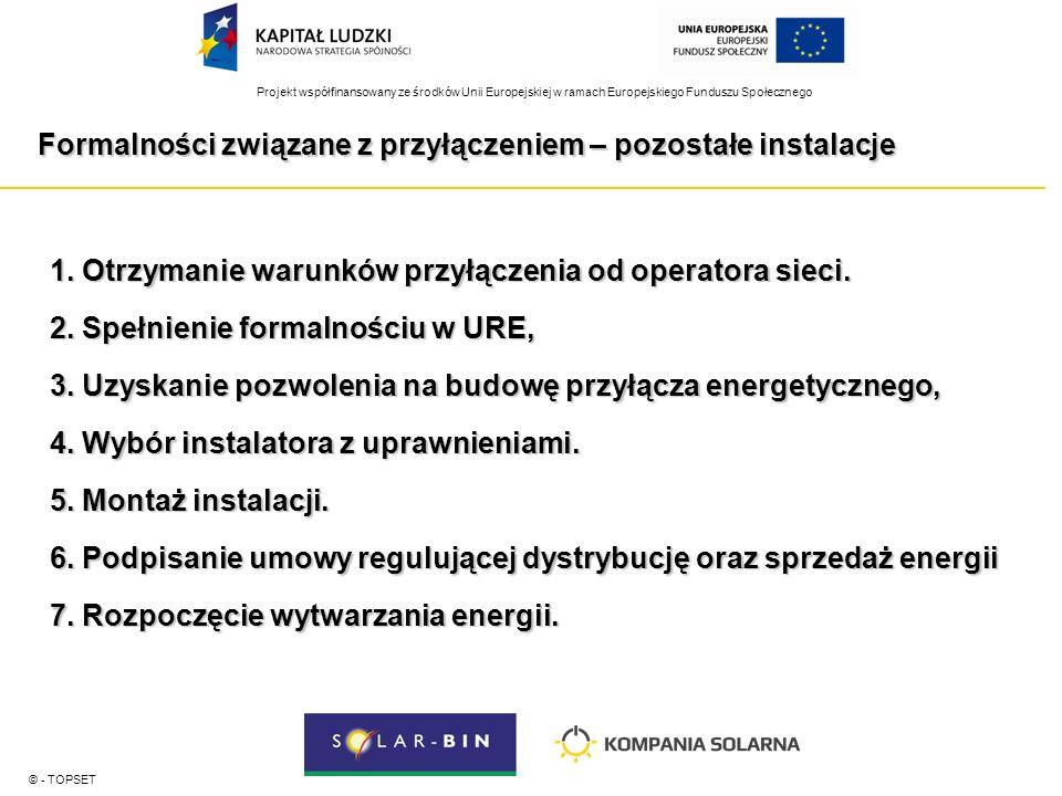 Projekt współfinansowany ze środków Unii Europejskiej w ramach Europejskiego Funduszu Społecznego Formalności związane z przyłączeniem – pozostałe instalacje © - TOPSET 1.