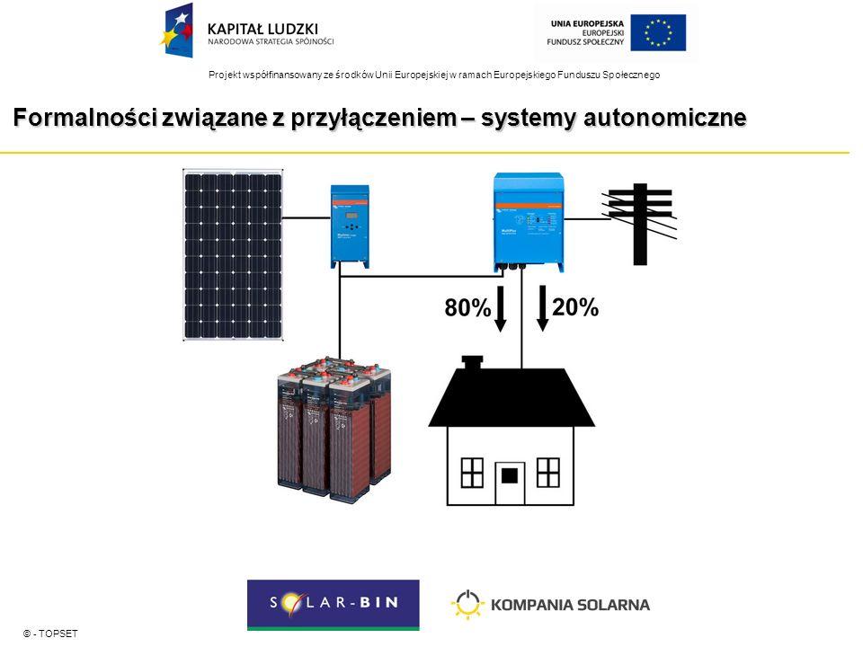 Projekt współfinansowany ze środków Unii Europejskiej w ramach Europejskiego Funduszu Społecznego Formalności związane z przyłączeniem – systemy autonomiczne © - TOPSET