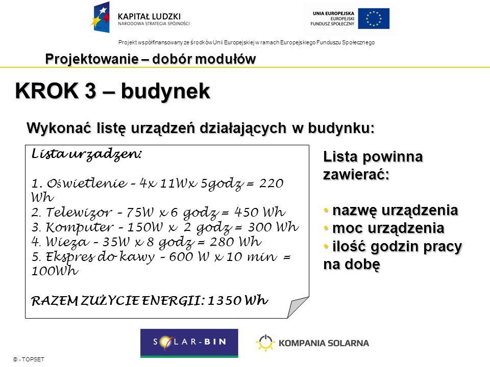 Projekt współfinansowany ze środków Unii Europejskiej w ramach Europejskiego Funduszu Społecznego Projektowanie – dobór modułów © - TOPSET KROK 4 – określenie strat systemowych W przypadku systemów zasilających urządzenia na prąd stały: +30%W przypadku systemów zasilających urządzenia na prąd stały: +30% W przypadku systemów zasilających urządzenia na prąd przemienny: +40%W przypadku systemów zasilających urządzenia na prąd przemienny: +40% zużycie energii + straty systemowe = zapotrzebowanie na energię Przykładowo: 1350Wh + 40% = 1890Wh