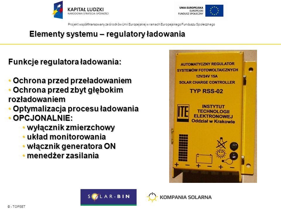 Projekt współfinansowany ze środków Unii Europejskiej w ramach Europejskiego Funduszu Społecznego Elementy systemu – regulatory ładowania © - TOPSET Funkcje regulatora ładowania: Ochrona przed przeładowaniem Ochrona przed przeładowaniem Ochrona przed zbyt głębokim rozładowaniem Ochrona przed zbyt głębokim rozładowaniem Optymalizacja procesu ładowania Optymalizacja procesu ładowania OPCJONALNIE: OPCJONALNIE: wyłącznik zmierzchowy wyłącznik zmierzchowy układ monitorowania układ monitorowania włącznik generatora ON włącznik generatora ON menedżer zasilania menedżer zasilania