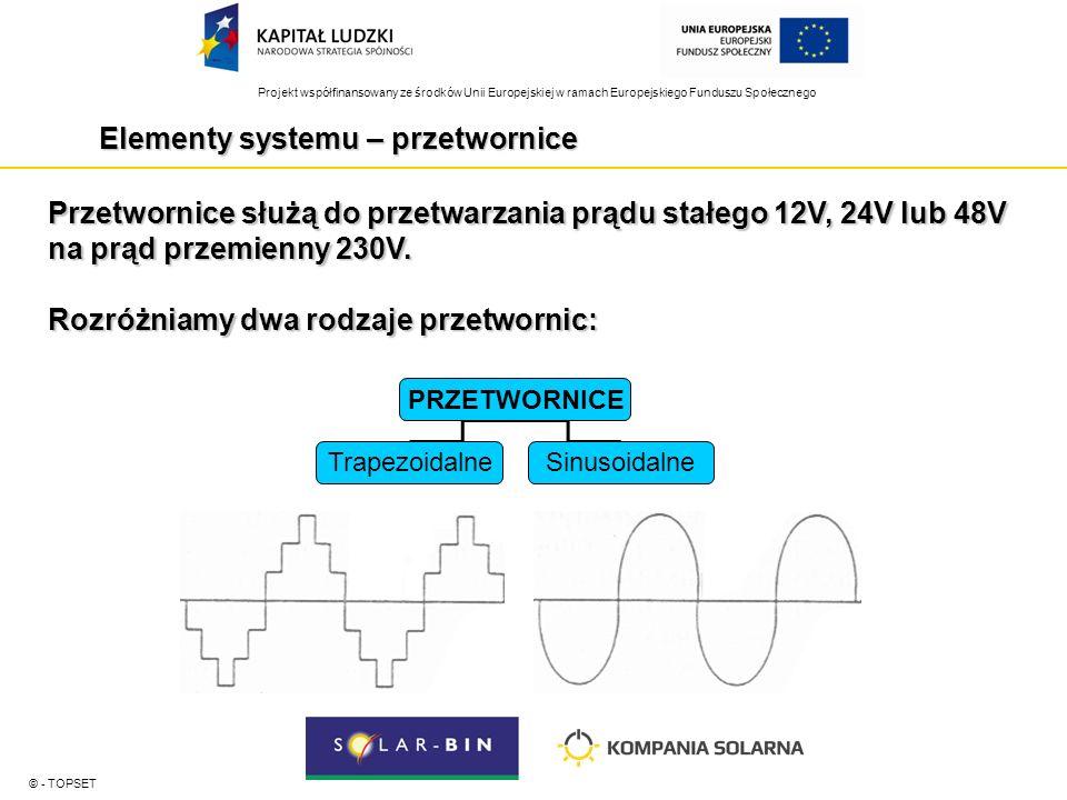 Projekt współfinansowany ze środków Unii Europejskiej w ramach Europejskiego Funduszu Społecznego Elementy systemu – przetwornice © - TOPSET Przetwornice służą do przetwarzania prądu stałego 12V, 24V lub 48V na prąd przemienny 230V.
