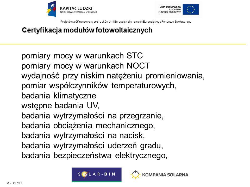 Projekt współfinansowany ze środków Unii Europejskiej w ramach Europejskiego Funduszu Społecznego Certyfikacja modułów fotowoltaicznych © - TOPSET pomiary mocy w warunkach STC pomiary mocy w warunkach NOCT wydajność przy niskim natężeniu promieniowania, pomiar współczynników temperaturowych, badania klimatyczne wstępne badania UV, badania wytrzymałości na przegrzanie, badania obciążenia mechanicznego, badania wytrzymałości na nacisk, badania wytrzymałości uderzeń gradu, badania bezpieczeństwa elektrycznego,