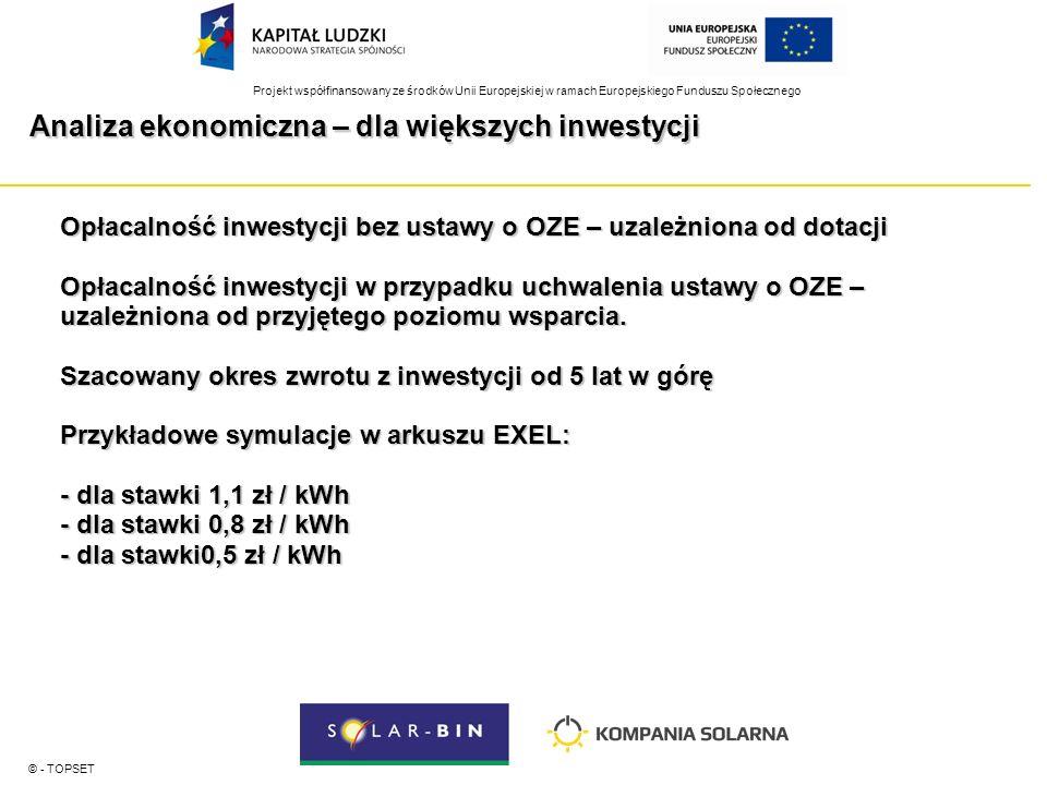 Projekt współfinansowany ze środków Unii Europejskiej w ramach Europejskiego Funduszu Społecznego Analiza ekonomiczna – dla większych inwestycji © - TOPSET Opłacalność inwestycji bez ustawy o OZE – uzależniona od dotacji Opłacalność inwestycji w przypadku uchwalenia ustawy o OZE – uzależniona od przyjętego poziomu wsparcia.