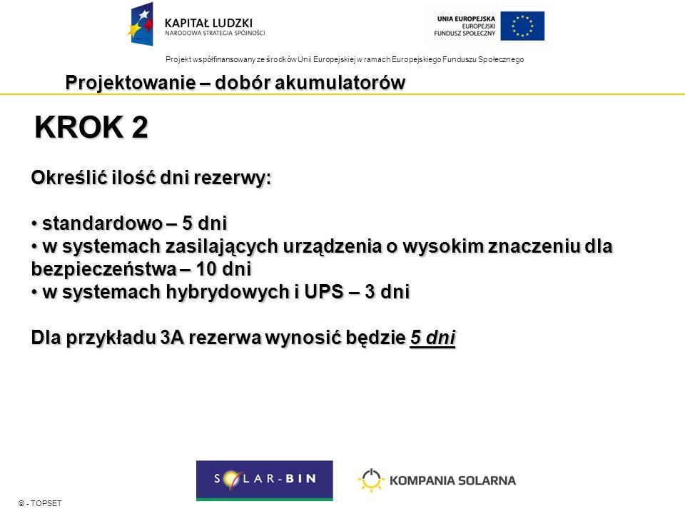 Projekt współfinansowany ze środków Unii Europejskiej w ramach Europejskiego Funduszu Społecznego Projektowanie – dobór akumulatorów © - TOPSET KROK 3 Określić pojemność akumulatora / banku akumulatorów Dla analizowanego przykładu 78,75 Ah x 5 dni + 30% = 511,87Ah Pojemność banku akumulatorów powinna wynieść: 511Ah/24V