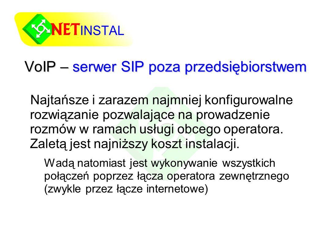 VoIP – serwer SIP poza przedsiębiorstwem Najtańsze i zarazem najmniej konfigurowalne rozwiązanie pozwalające na prowadzenie rozmów w ramach usługi obcego operatora.