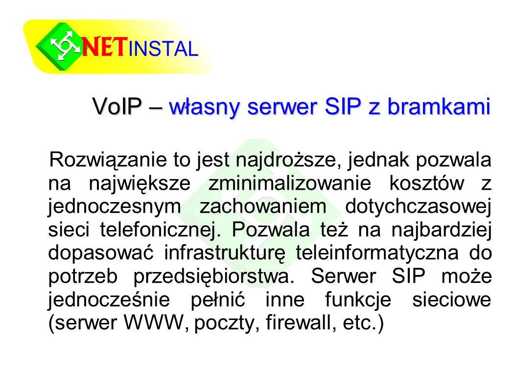 VoIP – własny serwer SIP z bramkami Rozwiązanie to jest najdroższe, jednak pozwala na największe zminimalizowanie kosztów z jednoczesnym zachowaniem dotychczasowej sieci telefonicznej.