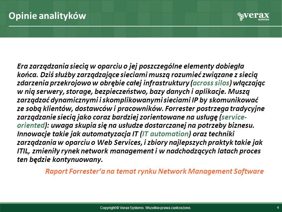 Opinie analityków 4 Era zarządzania siecią w oparciu o jej poszczególne elementy dobiegła końca. Dziś służby zarządzające sieciami muszą rozumieć zwią