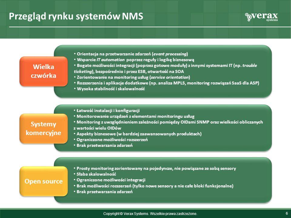 Przegląd rynku systemów NMS 6 Orientacja na przetwarzanie zdarzeń (event processing) Wsparcie IT automation poprzez reguły i logikę biznesową Bogate m