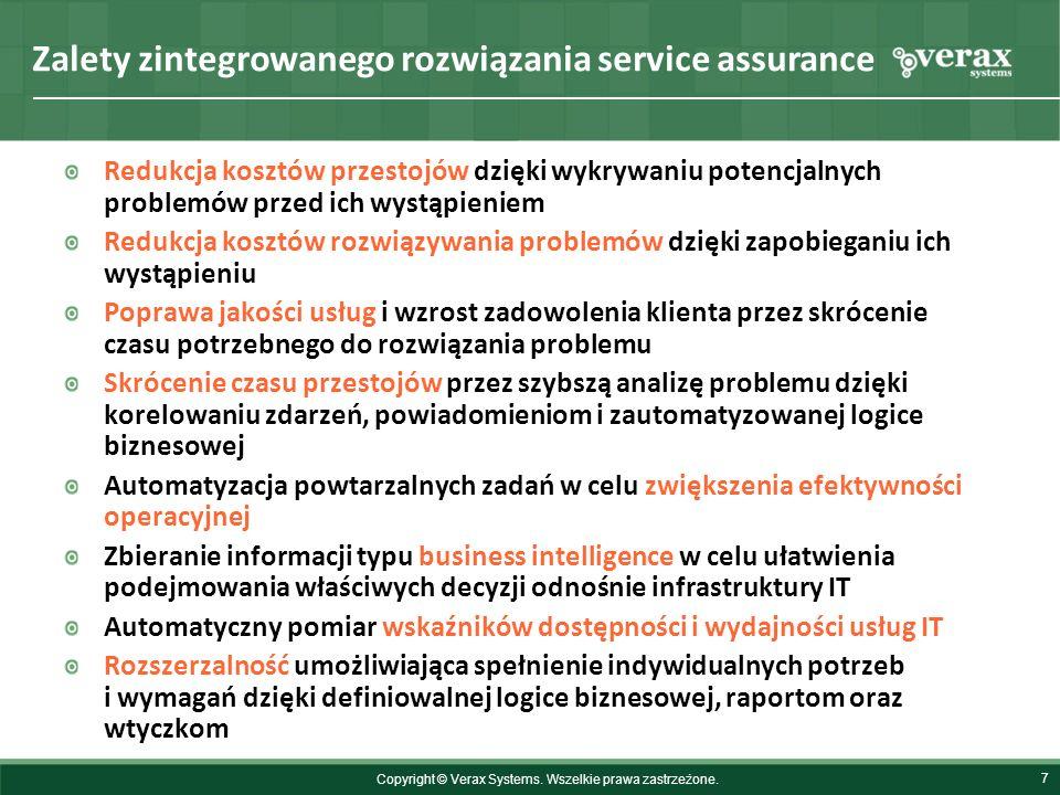 Zalety zintegrowanego rozwiązania service assurance 7 Redukcja kosztów przestojów dzięki wykrywaniu potencjalnych problemów przed ich wystąpieniem Red