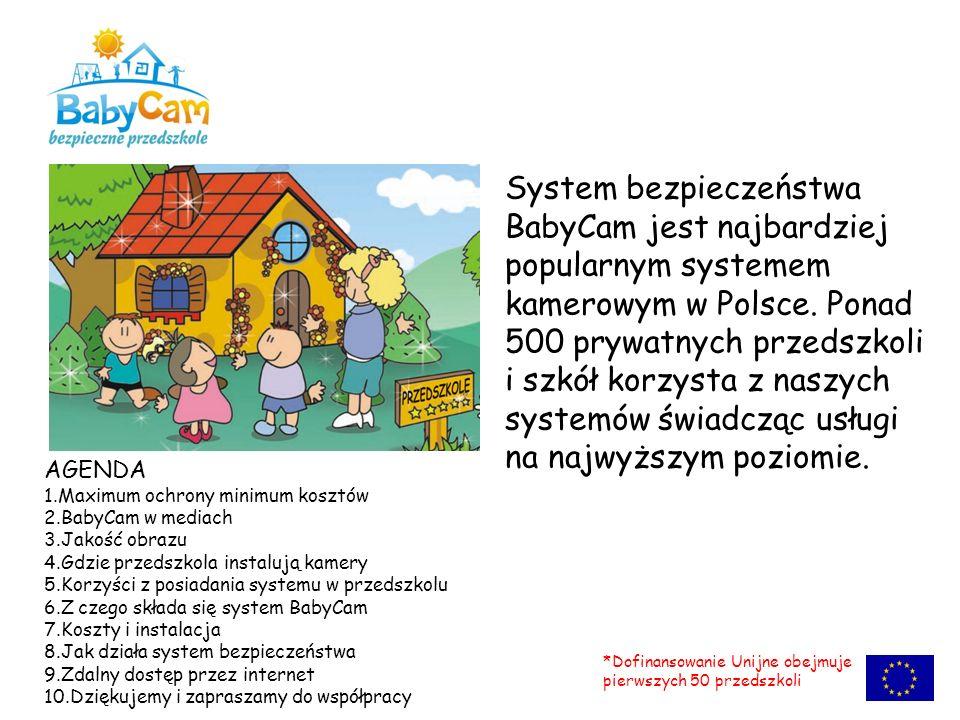 System bezpieczeństwa BabyCam jest najbardziej popularnym systemem kamerowym w Polsce. Ponad 500 prywatnych przedszkoli i szkół korzysta z naszych sys
