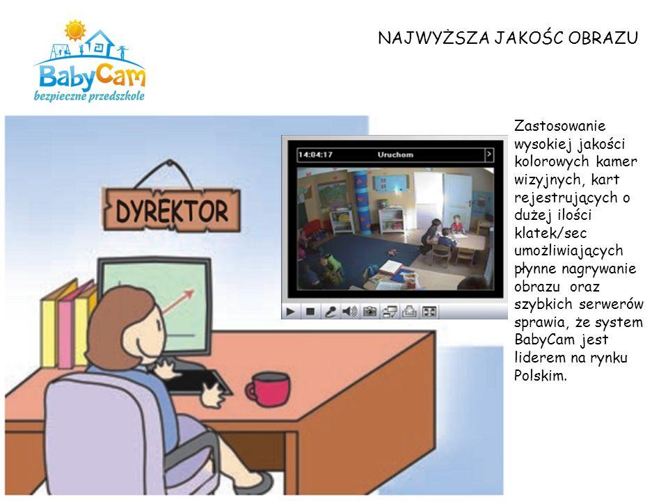 NAJWYŻSZA JAKOŚC OBRAZU Zastosowanie wysokiej jakości kolorowych kamer wizyjnych, kart rejestrujących o dużej ilości klatek/sec umożliwiających płynne nagrywanie obrazu oraz szybkich serwerów sprawia, że system BabyCam jest liderem na rynku Polskim.