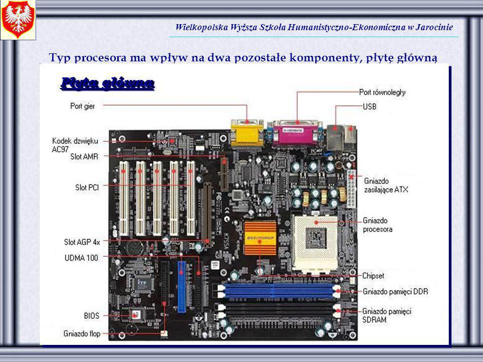 Wielkopolska Wyższa Szkoła Humanistyczno-Ekonomiczna w Jarocinie Typ procesora ma wpływ na dwa pozostałe komponenty, płytę główną i rodzaj pamięci. Pł