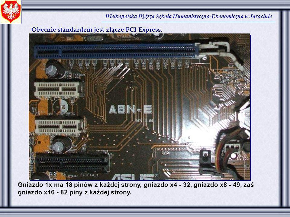 Wielkopolska Wyższa Szkoła Humanistyczno-Ekonomiczna w Jarocinie Obecnie standardem jest złącze PCI Express. Gniazdo 1x ma 18 pinów z każdej strony, g