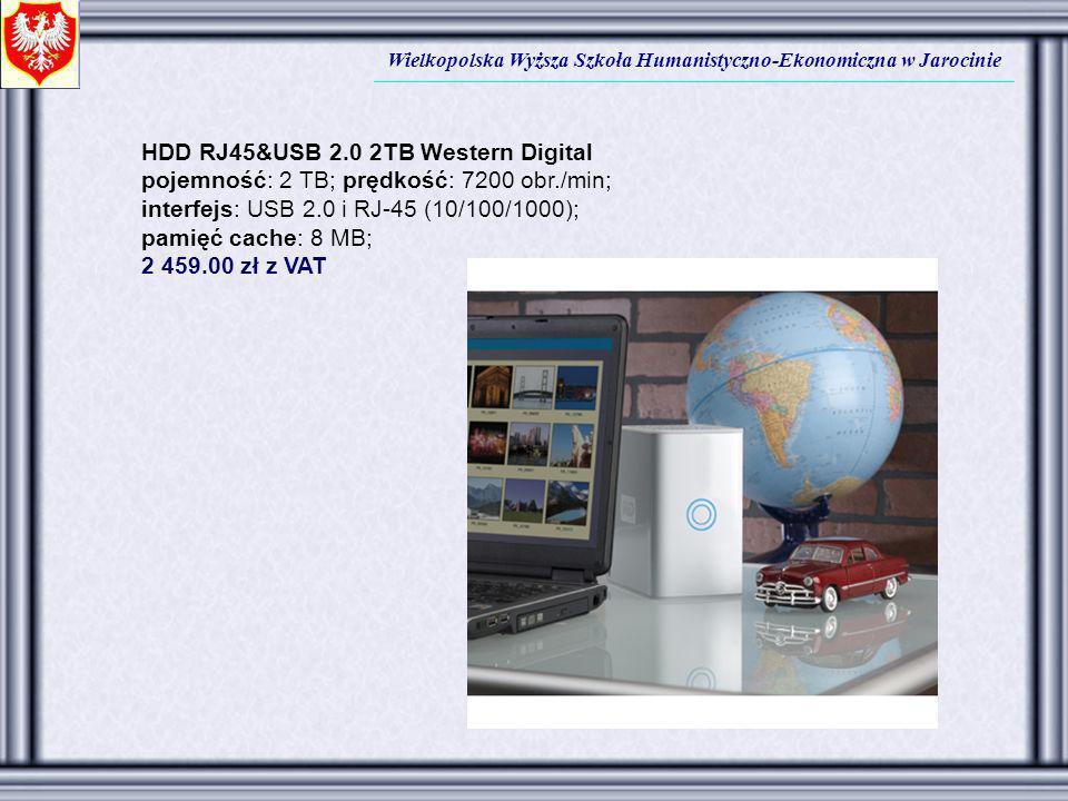 Wielkopolska Wyższa Szkoła Humanistyczno-Ekonomiczna w Jarocinie HDD RJ45&USB 2.0 2TB Western Digital pojemność: 2 TB; prędkość: 7200 obr./min; interf