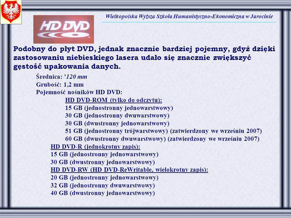Wielkopolska Wyższa Szkoła Humanistyczno-Ekonomiczna w Jarocinie Podobny do płyt DVD, jednak znacznie bardziej pojemny, gdyż dzięki zastosowaniu niebi