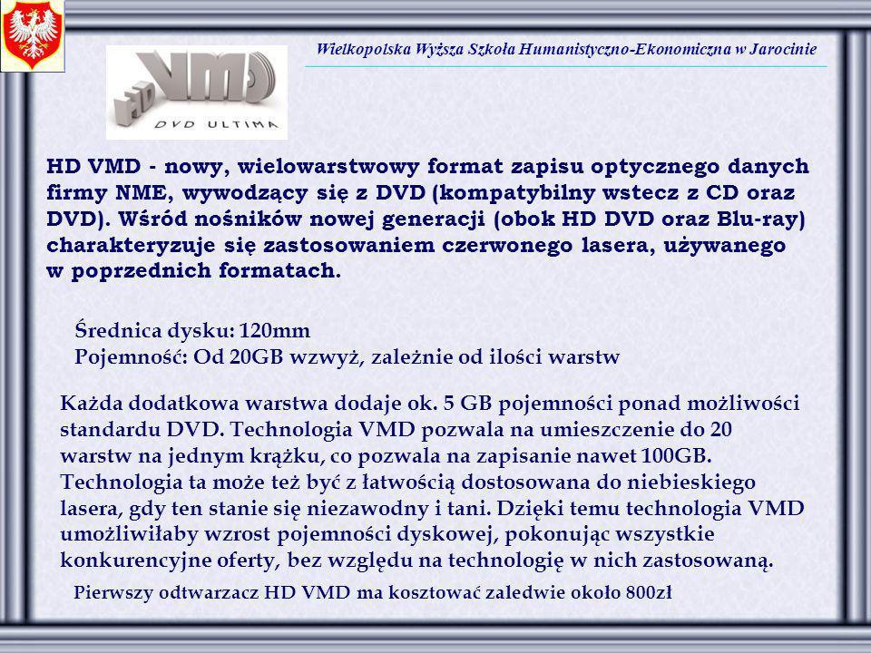 Wielkopolska Wyższa Szkoła Humanistyczno-Ekonomiczna w Jarocinie HD VMD - nowy, wielowarstwowy format zapisu optycznego danych firmy NME, wywodzący si