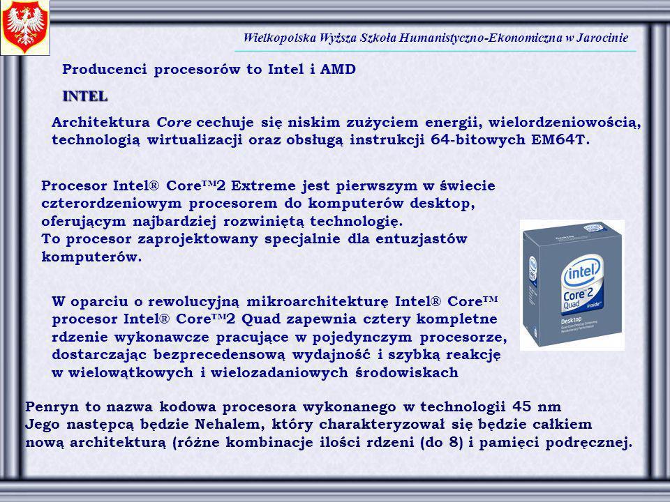 Wielkopolska Wyższa Szkoła Humanistyczno-Ekonomiczna w Jarocinie W oparciu o rewolucyjną mikroarchitekturę Intel® Core procesor Intel® Core2 Quad zape