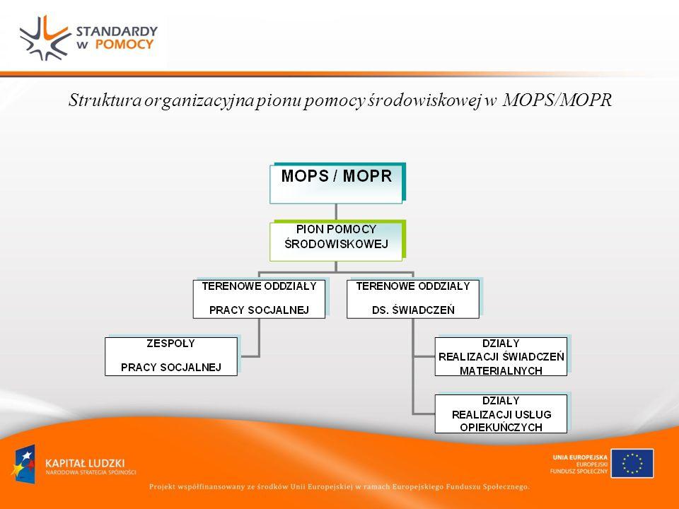 Struktura organizacyjna pionu pomocy środowiskowej w MOPS/MOPR