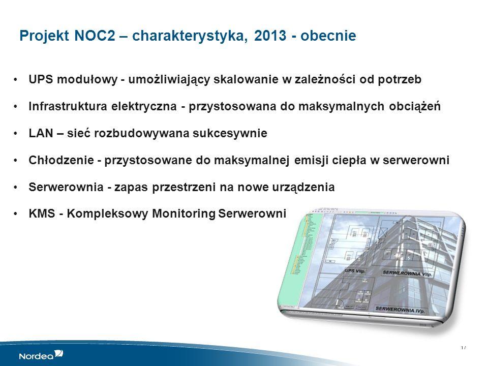 NOC – NOC1 + NOC2, Nordea Operations Centre Łącznie, około 800 stanowisk pracy w roku 2014 Przewiduje się dalszy rozwój NOC – dalsza rozbudowa lokalizacji NOC 2 18