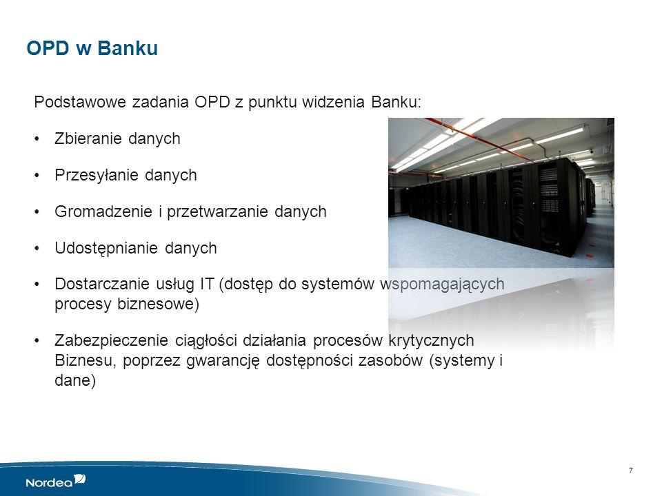 Łączność OPD z innymi lokalizacjami W przypadku Banku mówimy o: małych placówkach, w których jest jedna szafa rack, umieszczona w dedykowanym pomieszczeniu technicznym centralach, które posiadają dedykowane serwerownie, gdzie możliwe jest off- lineowe, lokalne przetwarzanie części danych biznesowych Stąd funkcjonuje pojęcie: INFRASTRUKTURY OŚRODKÓW PRZETWARZANIA DANYCH czyli rozległej infrastruktury, stanowiącej układ nerwowy przedsiębiorstwa Półżartem, półserio: projekty i wszelkie zmiany w obszarze infrastruktury są jak operacje na żywym organizmie 8