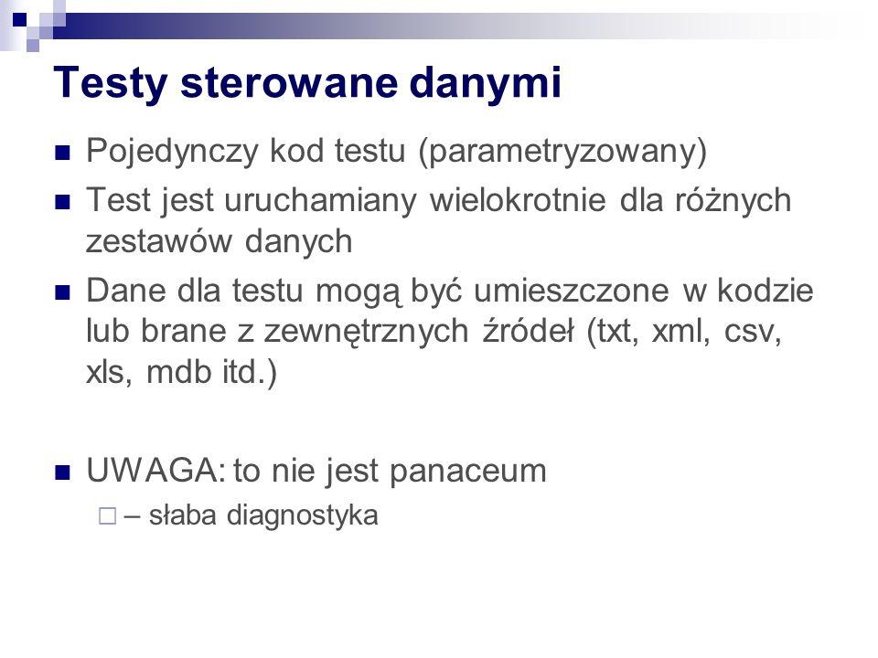Testy sterowane danymi Pojedynczy kod testu (parametryzowany) Test jest uruchamiany wielokrotnie dla różnych zestawów danych Dane dla testu mogą być umieszczone w kodzie lub brane z zewnętrznych źródeł (txt, xml, csv, xls, mdb itd.) UWAGA: to nie jest panaceum – słaba diagnostyka
