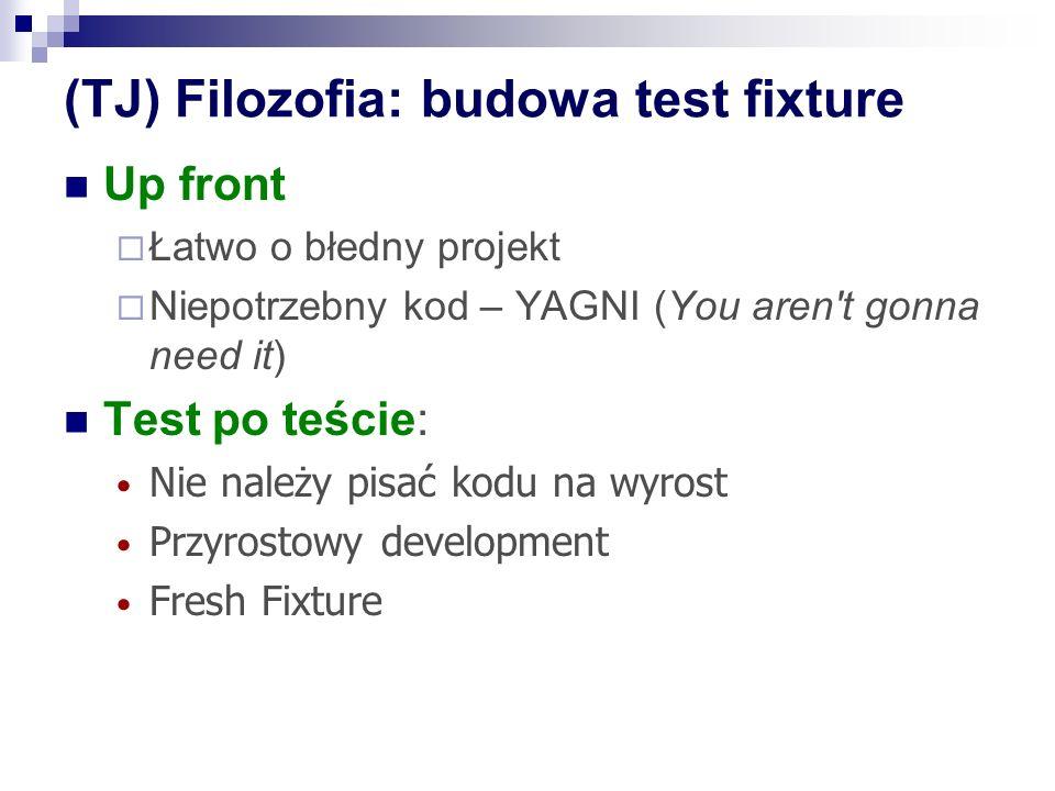 (TJ) Filozofia: budowa test fixture Up front Łatwo o błedny projekt Niepotrzebny kod – YAGNI (You aren t gonna need it) Test po teście: Nie należy pisać kodu na wyrost Przyrostowy development Fresh Fixture