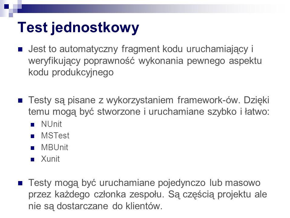 NUnit Dedykowane GUI Wtyczki do VS: R# TestDriven.Net