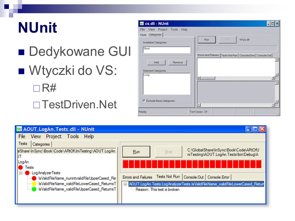 Test jednostkowy – elementy (1) bool IsLoginOk(string user, string password); [TestFixture] Class TestClass { [Test] public void TestLogin() { LoginComponent sut = new LoginComponent (); bool result = sut.IsLoginOk( user , password ); Assert.AreEqual (false,result, invalid user/password shouldn t be accepted ); }
