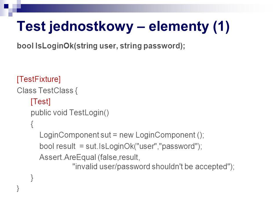 (TJ) Jakośc kodu Testy to też kod – równiez powinien być (bardzo) dobrej jakości Krótki, zrozumiały kod Dobre nazewnictwo Brak powtórzeń Testy można i należy refaktoryzować Testy nie powinny zawierać logiki – jak testować testy.