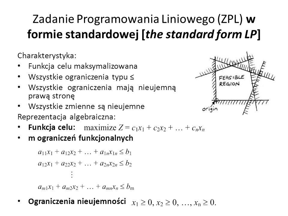 Test minimalnego ułamka (minimum ratio test) Aby znaleźć bazową zmienną wychodzącą musimy znaleźć najmniejszą wartość następującego wyrażenia W naszym przykładzie mianownik był zawsze 1, ale ogólnie może być różny od 1 Dwa szczególne przypadki: – Jeśli współczynnik bazowej zmiennej wchodzącej jest 0 (ograniczenie nie przecina ciągle aktywnych ograniczeń reprezentowanych przez pozostałe zmienne niebazowe) – Jeśli współczynnik bazowej zmiennej wchodzącej jest ujemny (ograniczenie coprawda przecina ciągle aktywne ograniczenia, ale kierunek wzrostu bazowej zmiennej wchodzącej jest w przeciwnym kierunku do punktu przecięcia)