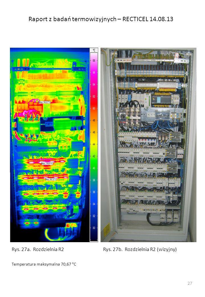 Raport z badań termowizyjnych – RECTICEL 14.08.13 Rys. 27a. Rozdzielnia R2 Temperatura maksymalna 70,67 o C Rys. 27b. Rozdzielnia R2 (wizyjny) 27