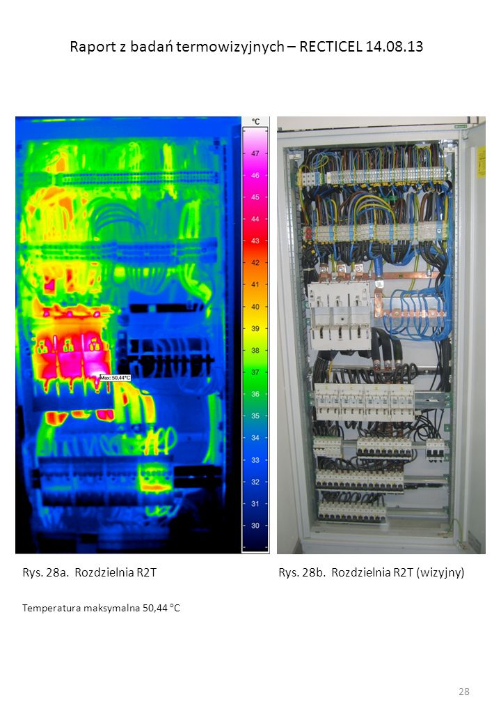 Raport z badań termowizyjnych – RECTICEL 14.08.13 Rys. 28a. Rozdzielnia R2T Temperatura maksymalna 50,44 o C Rys. 28b. Rozdzielnia R2T (wizyjny) 28