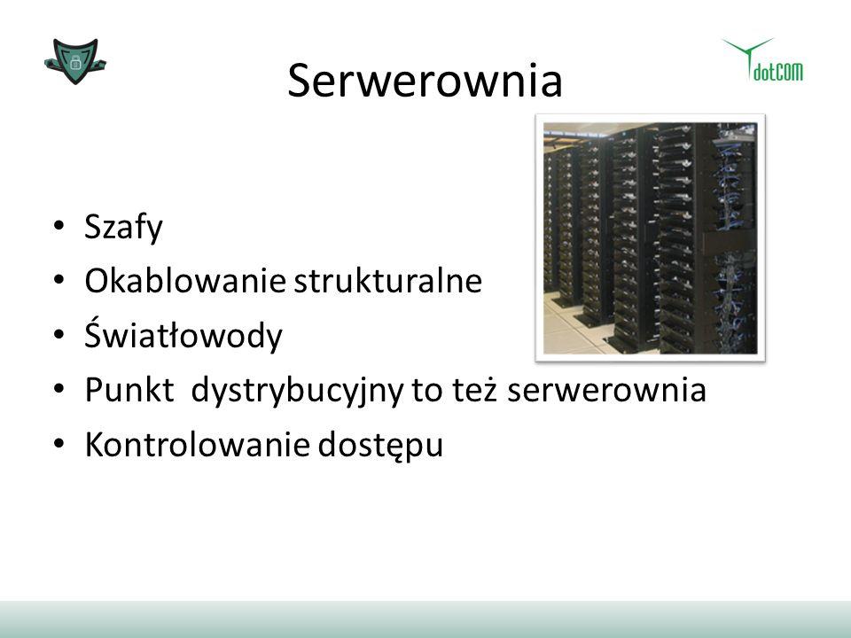 Serwerownia Szafy Okablowanie strukturalne Światłowody Punkt dystrybucyjny to też serwerownia Kontrolowanie dostępu