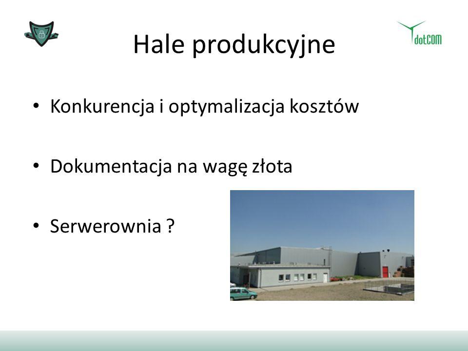 Hale produkcyjne Konkurencja i optymalizacja kosztów Dokumentacja na wagę złota Serwerownia ?