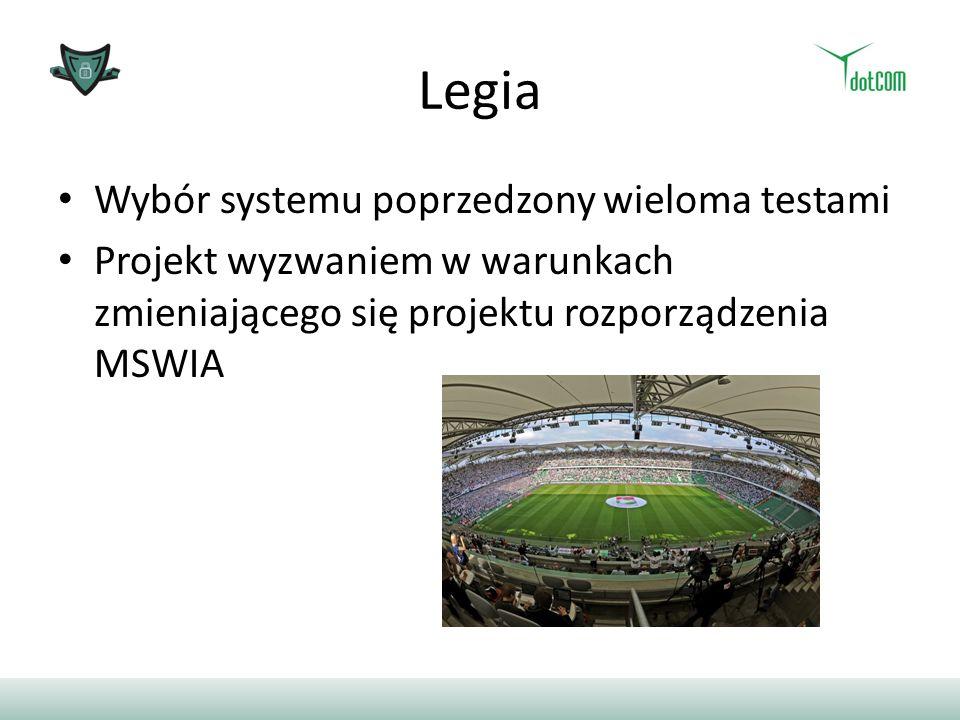 Legia Wybór systemu poprzedzony wieloma testami Projekt wyzwaniem w warunkach zmieniającego się projektu rozporządzenia MSWIA