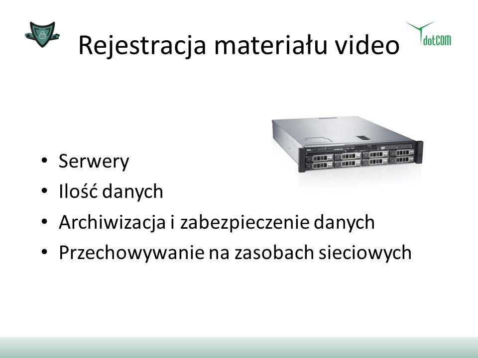 Rejestracja materiału video Serwery Ilość danych Archiwizacja i zabezpieczenie danych Przechowywanie na zasobach sieciowych
