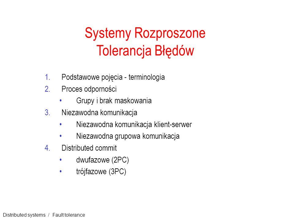 Distributed systems / Fault tolerance 1 Systemy Rozproszone Tolerancja Błędów 1.Podstawowe pojęcia - terminologia 2.Proces odporności Grupy i brak mas