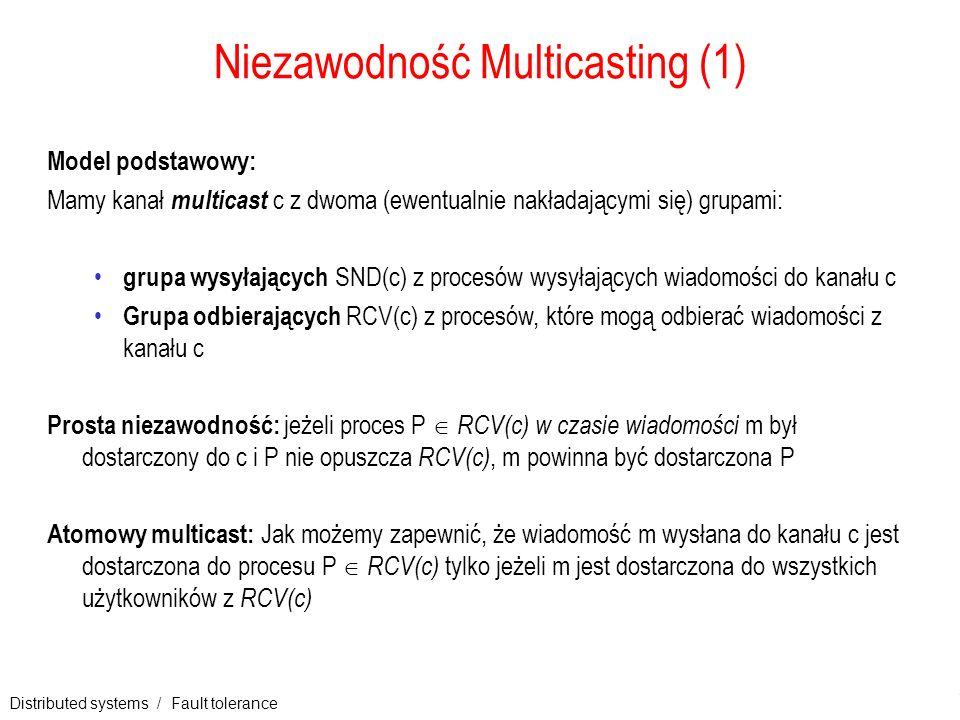 Distributed systems / Fault tolerance 15 Niezawodność Multicasting (1) Model podstawowy: Mamy kanał multicast c z dwoma (ewentualnie nakładającymi się