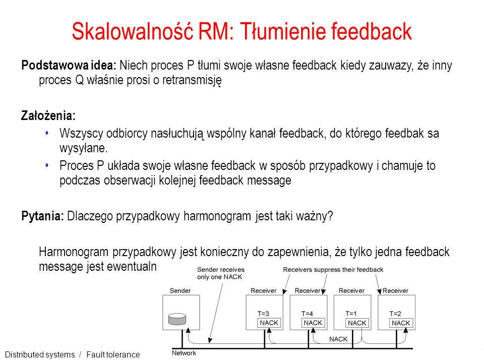 Distributed systems / Fault tolerance 18 Skalowalność RM: Tłumienie feedback Podstawowa idea: Niech proces P tłumi swoje własne feedback kiedy zauwazy
