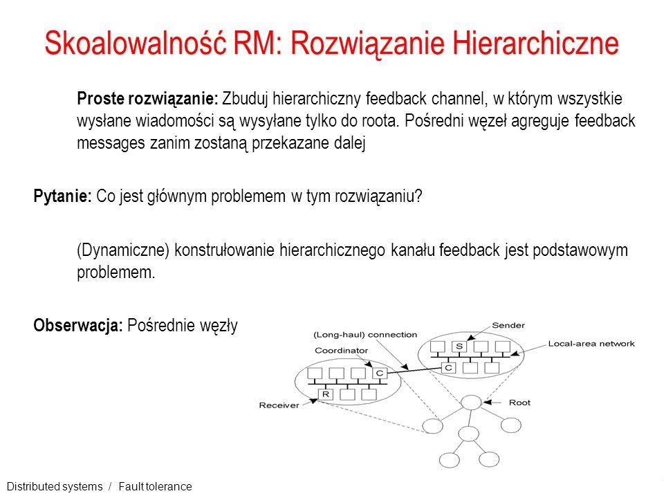 Distributed systems / Fault tolerance 19 Skoalowalność RM: Rozwiązanie Hierarchiczne Proste rozwiązanie: Zbuduj hierarchiczny feedback channel, w któr