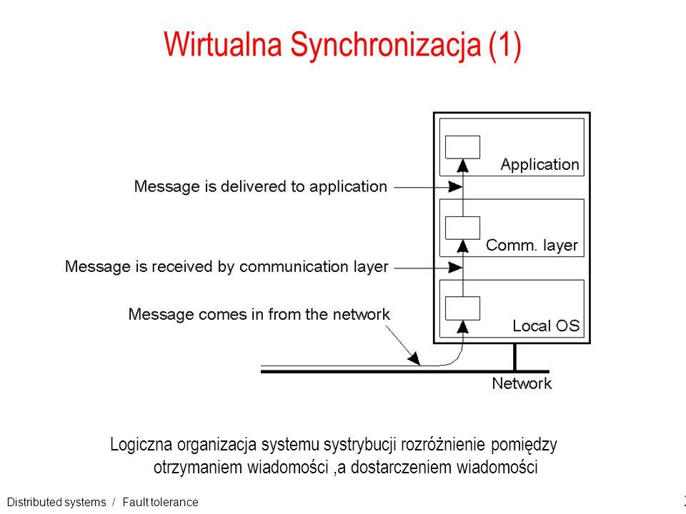 Distributed systems / Fault tolerance 21 Wirtualna Synchronizacja (1) Logiczna organizacja systemu systrybucji rozróżnienie pomiędzy otrzymaniem wiado