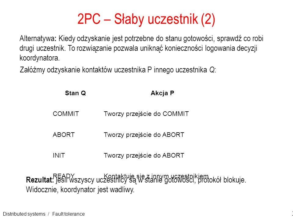 Distributed systems / Fault tolerance 28 2PC – Słaby uczestnik (2) Alternatywa : Kiedy odzyskanie jest potrzebne do stanu gotowości, sprawdź co robi d