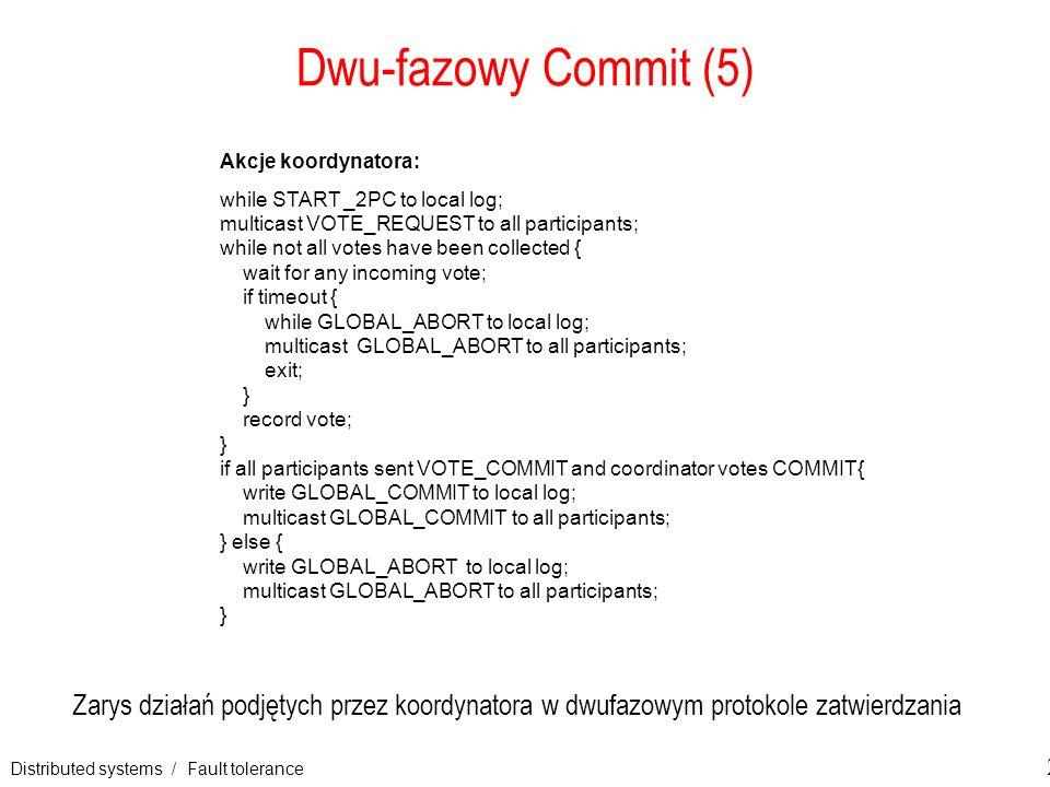 Distributed systems / Fault tolerance 29 Dwu-fazowy Commit (5) Zarys działań podjętych przez koordynatora w dwufazowym protokole zatwierdzania Akcje k