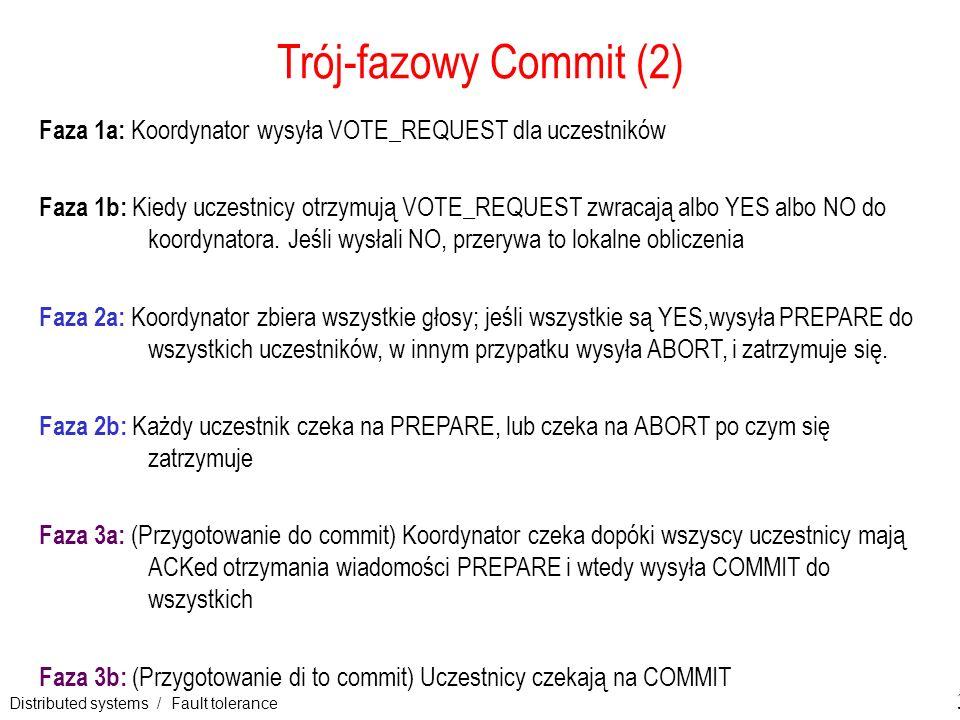 Distributed systems / Fault tolerance 33 Trój-fazowy Commit (2) Faza 1a: Koordynator wysyła VOTE_REQUEST dla uczestników Faza 1b: Kiedy uczestnicy otr