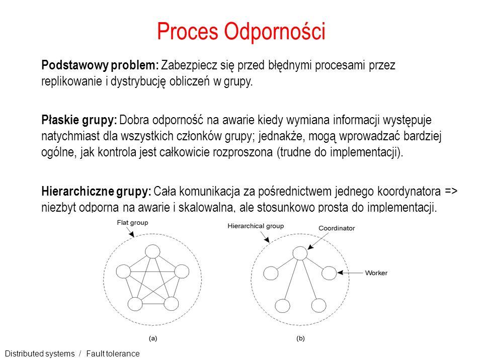 Distributed systems / Fault tolerance 7 Grupy i maskowanie awarii (1) Terminologia: kiedy grupa może maskować każde k jednoczesnych błędów członków,to mówi się, że jest to k-błędowa tolerancja (k nazywana jest stopniem lub tolerancją błędu).